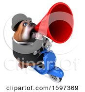 Clipart Of A 3d Gentleman Or Business Bulldog Riding A Scooter On A White Background Royalty Free Illustration