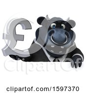 Clipart Of A 3d Black Business Bull Holding A Pound Currency Symbol On A White Background Royalty Free Illustration by Julos