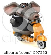 Clipart Of A 3d Business Elephant Riding A Scooter On A White Background Royalty Free Illustration