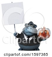 Clipart Of A 3d Business Gorilla Holding A Fish Bowl On A White Background Royalty Free Illustration by Julos