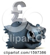 Clipart Of A 3d Gorilla Holding A Pound Currency Symbol On A White Background Royalty Free Illustration by Julos