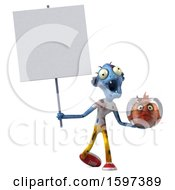 Clipart Of A 3d Blue Zombie Holding A Fish Bowl On A White Background Royalty Free Illustration