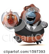 Clipart Of A 3d Business Orangutan Holding A Fish Bowl On A White Background Royalty Free Illustration by Julos
