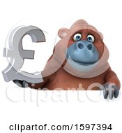 Clipart Of A 3d Orangutan Holding A Pound Currency Symbol On A White Background Royalty Free Illustration