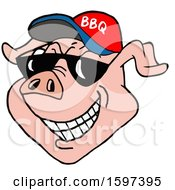 Clipart Of A Pig Face Wearing A Bbq Hat And Shades Royalty Free Vector Illustration