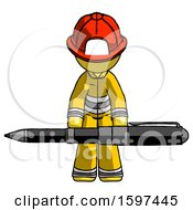 Yellow Firefighter Fireman Man Weightlifting A Giant Pen