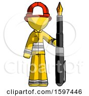 Poster, Art Print Of Yellow Firefighter Fireman Man Holding Giant Calligraphy Pen