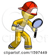 Yellow Firefighter Fireman Man Inspecting With Large Magnifying Glass Right