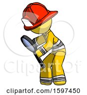 Yellow Firefighter Fireman Man Inspecting With Large Magnifying Glass Left