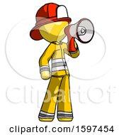 Yellow Firefighter Fireman Man Shouting Into Megaphone Bullhorn Facing Right