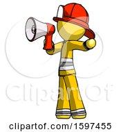 Yellow Firefighter Fireman Man Shouting Into Megaphone Bullhorn Facing Left