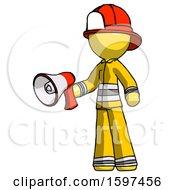 Yellow Firefighter Fireman Man Holding Megaphone Bullhorn Facing Right