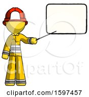 Yellow Firefighter Fireman Man Giving Presentation In Front Of Dry Erase Board