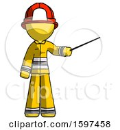 Yellow Firefighter Fireman Man Teacher Or Conductor With Stick Or Baton Directing