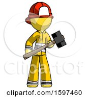 Yellow Firefighter Fireman Man With Sledgehammer Standing Ready To Work Or Defend