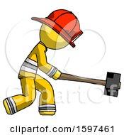 Yellow Firefighter Fireman Man Hitting With Sledgehammer Or Smashing Something