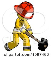 Yellow Firefighter Fireman Man Hitting With Sledgehammer Or Smashing Something At Angle