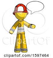Yellow Firefighter Fireman Man With Word Bubble Talking Chat Icon
