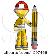 Yellow Firefighter Fireman Man With Large Pencil Standing Ready To Write
