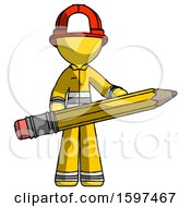 Yellow Firefighter Fireman Man Writer Or Blogger Holding Large Pencil
