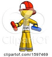 Yellow Firefighter Fireman Man Red Pill Or Blue Pill Concept