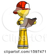 Poster, Art Print Of Yellow Firefighter Fireman Man Reading Book While Standing Up Facing Away