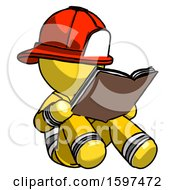 Poster, Art Print Of Yellow Firefighter Fireman Man Reading Book While Sitting Down