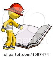 Poster, Art Print Of Yellow Firefighter Fireman Man Reading Big Book While Standing Beside It