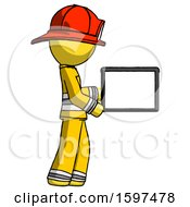 Yellow Firefighter Fireman Man Show Tablet Device Computer To Viewer Blank Area