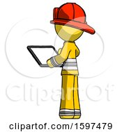 Yellow Firefighter Fireman Man Looking At Tablet Device Computer With Back To Viewer