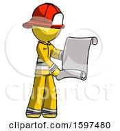 Yellow Firefighter Fireman Man Holding Blueprints Or Scroll