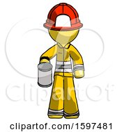 Yellow Firefighter Fireman Man Begger Holding Can Begging Or Asking For Charity