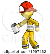 Yellow Firefighter Fireman Man Begger Holding Can Begging Or Asking For Charity Facing Left