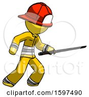 Yellow Firefighter Fireman Man Stabbing With Ninja Sword Katana
