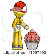 Yellow Firefighter Fireman Man With Giant Cupcake Dessert