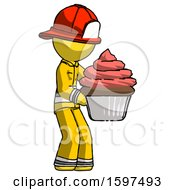 Yellow Firefighter Fireman Man Holding Large Cupcake Ready To Eat Or Serve