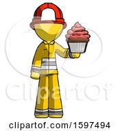 Yellow Firefighter Fireman Man Presenting Pink Cupcake To Viewer