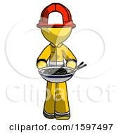 Yellow Firefighter Fireman Man Serving Or Presenting Noodles