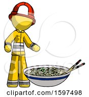 Yellow Firefighter Fireman Man And Noodle Bowl Giant Soup Restaraunt Concept