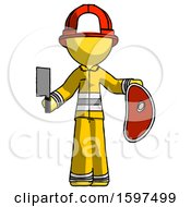Yellow Firefighter Fireman Man Holding Large Steak With Butcher Knife