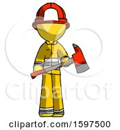 Yellow Firefighter Fireman Man Holding Red Fire Fighters Ax