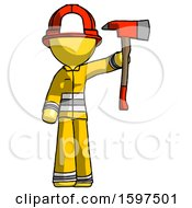 Yellow Firefighter Fireman Man Holding Up Red Firefighters Ax