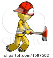 Yellow Firefighter Fireman Man With Ax Hitting Striking Or Chopping