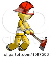 Yellow Firefighter Fireman Man Striking With A Red Firefighters Ax