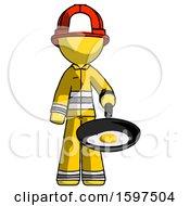Poster, Art Print Of Yellow Firefighter Fireman Man Frying Egg In Pan Or Wok