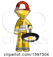 Yellow Firefighter Fireman Man Frying Egg In Pan Or Wok