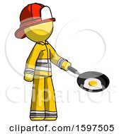 Yellow Firefighter Fireman Man Frying Egg In Pan Or Wok Facing Right