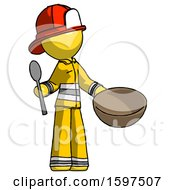Yellow Firefighter Fireman Man With Empty Bowl And Spoon Ready To Make Something