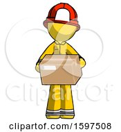 Yellow Firefighter Fireman Man Holding Box Sent Or Arriving In Mail