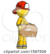 Yellow Firefighter Fireman Man Holding Package To Send Or Recieve In Mail